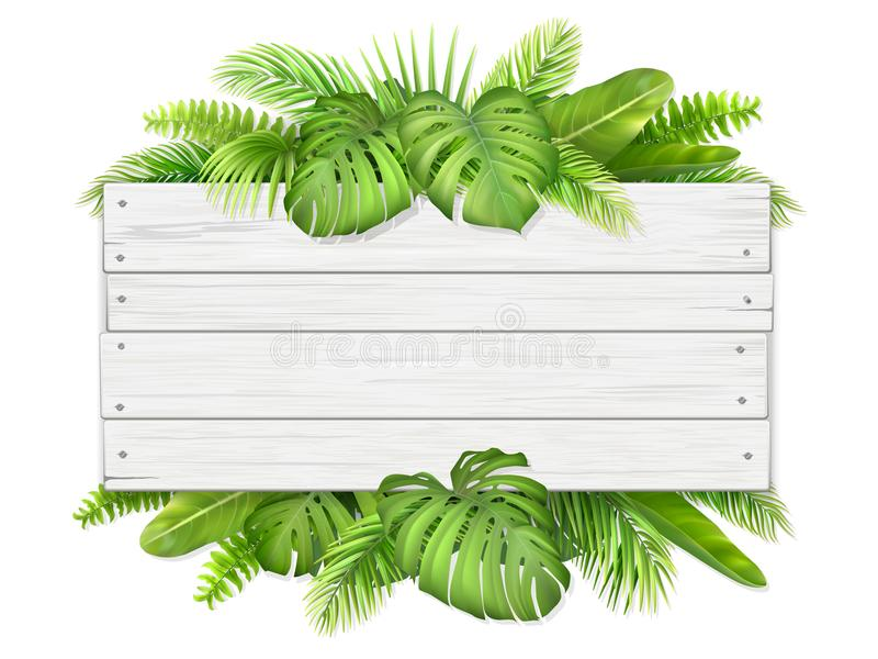 Wooden sign with tropical leaves. Trendy tropical and summer leaves. Wooden sign with place for text. Illustration for design with exotic plant stock illustration