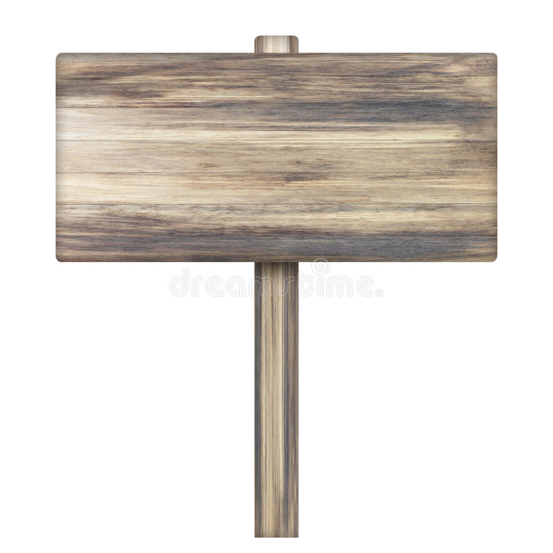 Wooden sign on white. Wood old planks sign. stock photography