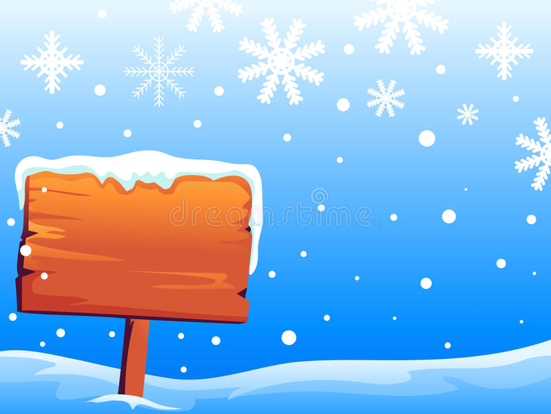 Wooden Signage on Snowy Background stock illustration