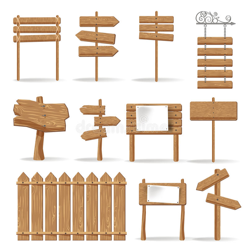 Wooden signages and direction signs vector icons set stock illustration