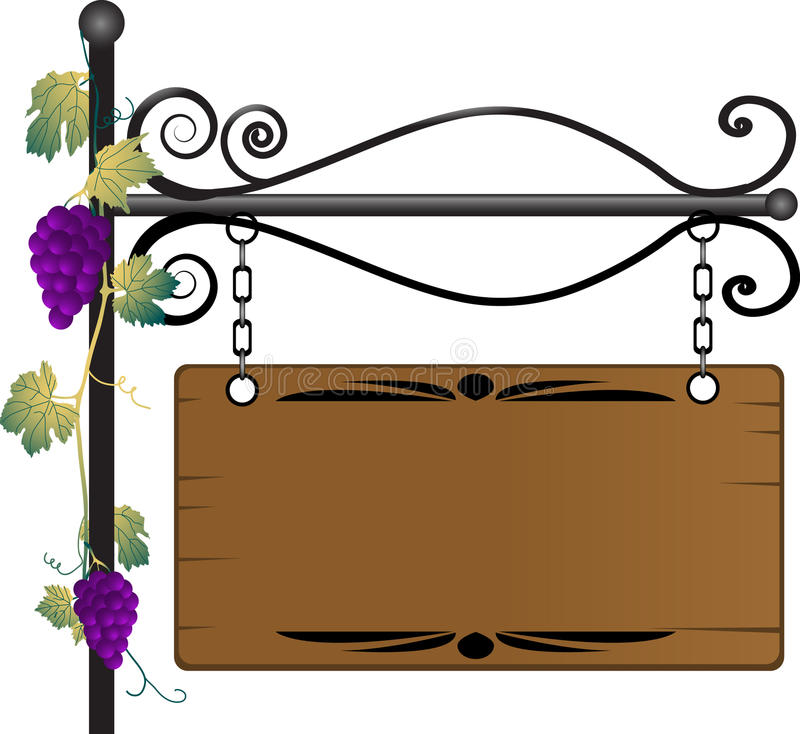 Wooden signboard. With grapevine twig royalty free illustration