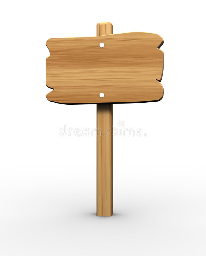 Wooden signboard. Country wooden signboard over white - 3d render stock illustration