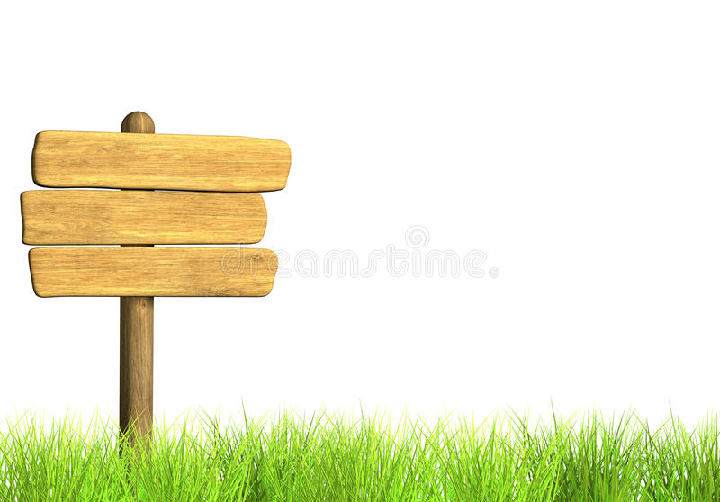 Wooden signboard. Object over white stock illustration