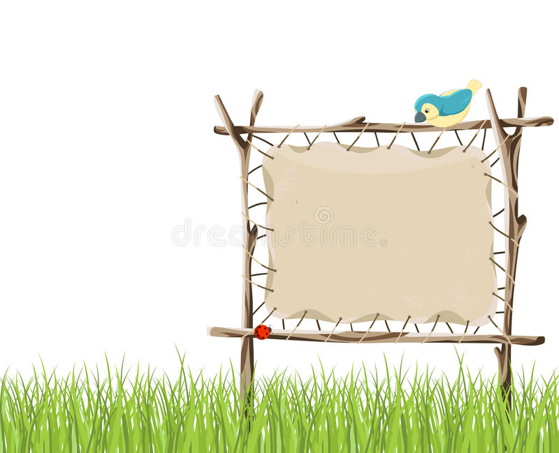 Wooden signboard. And green grass stock illustration