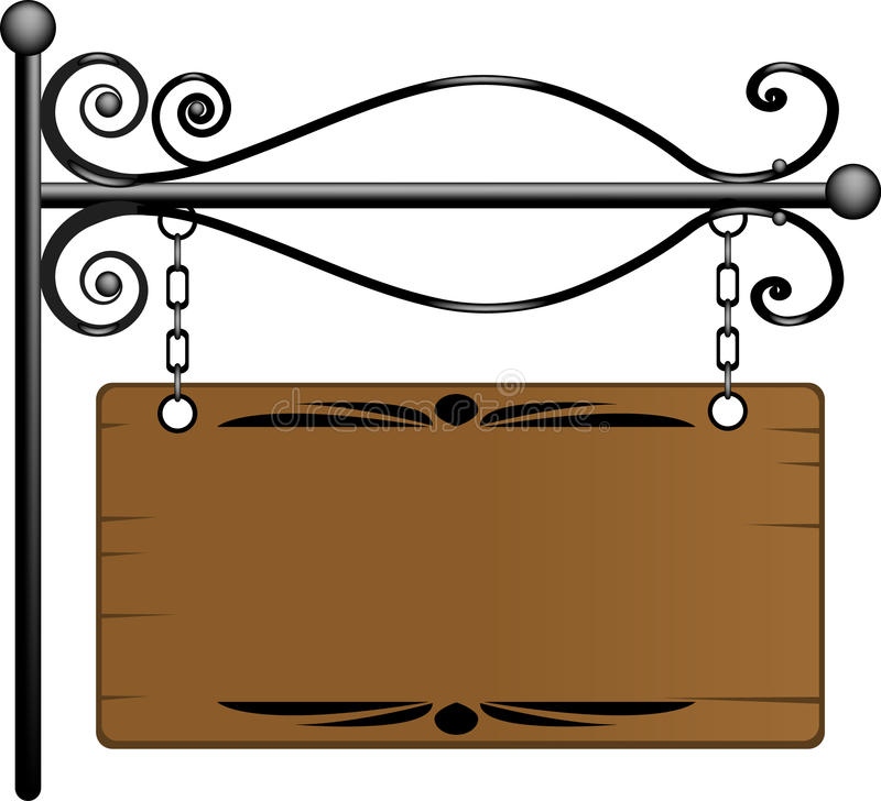 Wooden signboard. For your text royalty free illustration