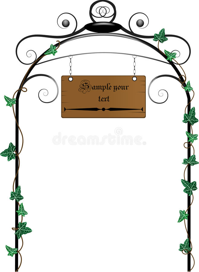 Wooden signboard. Hanging on the gate vector illustration