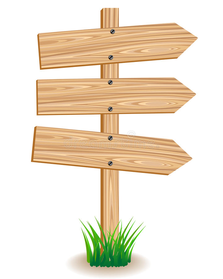 Wooden signboard. With an arrows on a green grass royalty free illustration