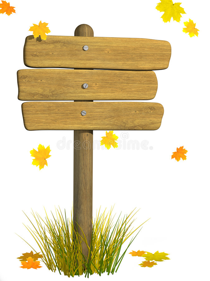 Wooden signboard. Autumn. Wooden signboard from three boards. Object over white stock illustration