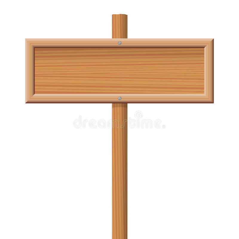 Wooden Signboard. Wooden blank signboard screwed on a wooden pole stock illustration