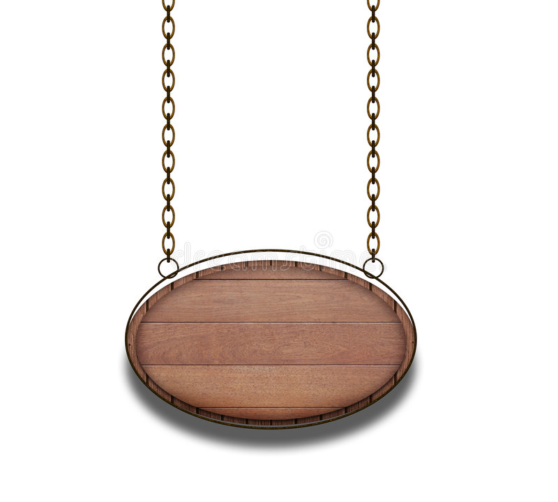 Wooden signboard on a chain. Wooden signboard on the gilded chain, for the decoration of image or advertising royalty free illustration