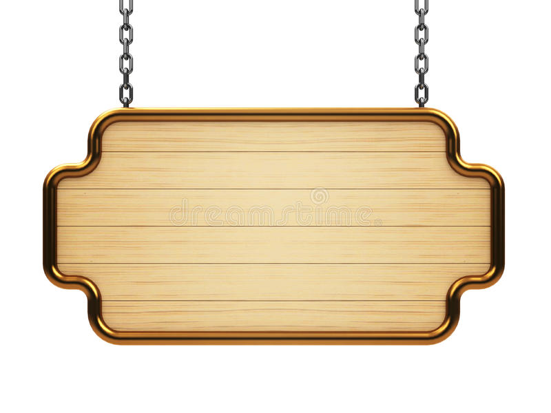 Wooden signboard on chain. Isolated on white background, three-dimensional rendering vector illustration