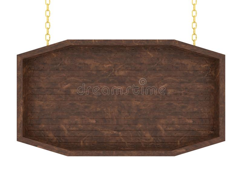 Wooden signboard with chain on white background. 3d render. vector illustration