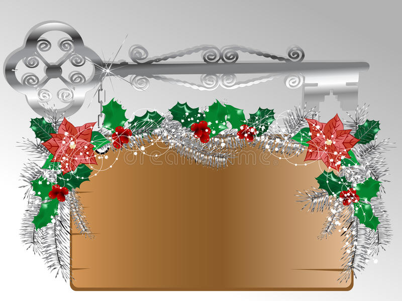 Wooden signboard. With christmas garland royalty free illustration