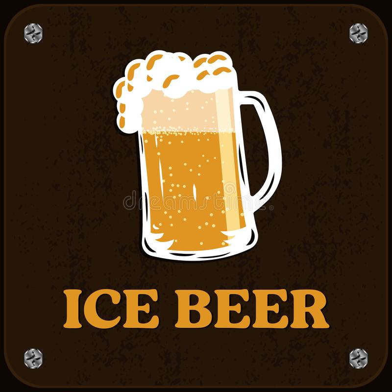 Wooden signboard of cold beer. Ice drink, foamy beer. Vector illustration, pub sign stock illustration