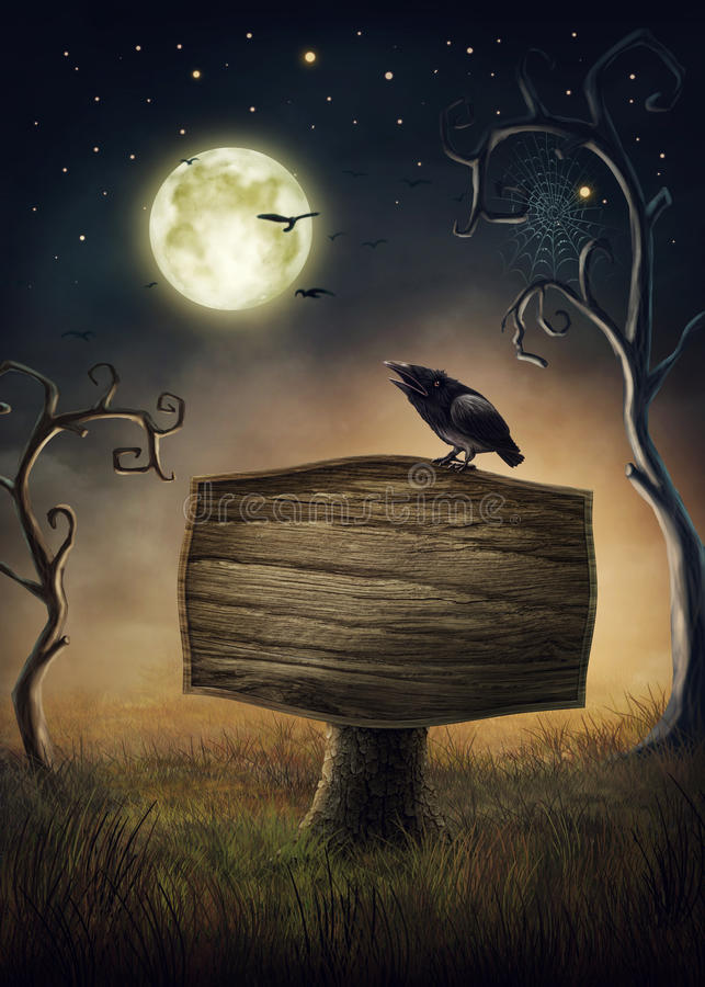 Wooden signboard. And a crow stock illustration