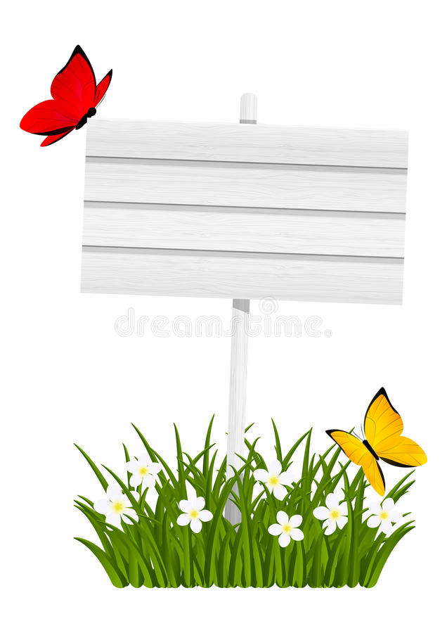 Wooden signboard. With green grass stock illustration