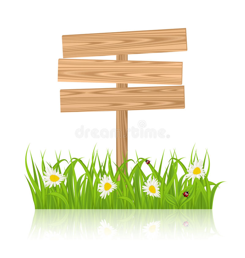 Wooden signboard for guidepost with field green grass and camomile and ladybugs. Illustration wooden signboard for guidepost with field green grass and camomile royalty free illustration