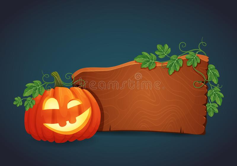 Wooden signboard with happy grinning halloween pumpkin illuminated from the inside. royalty free illustration
