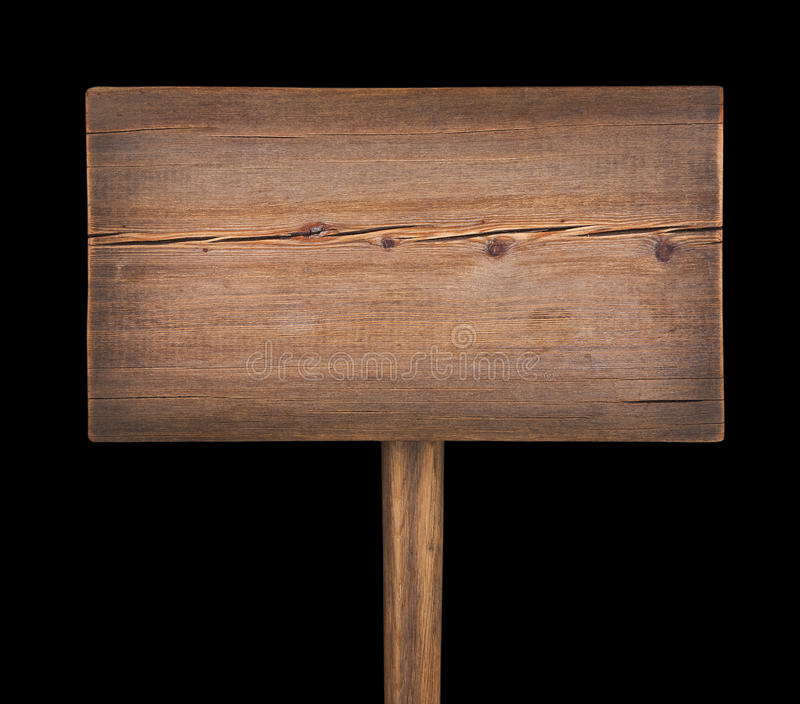 Wooden signboard isolated on black. Background royalty free stock photos