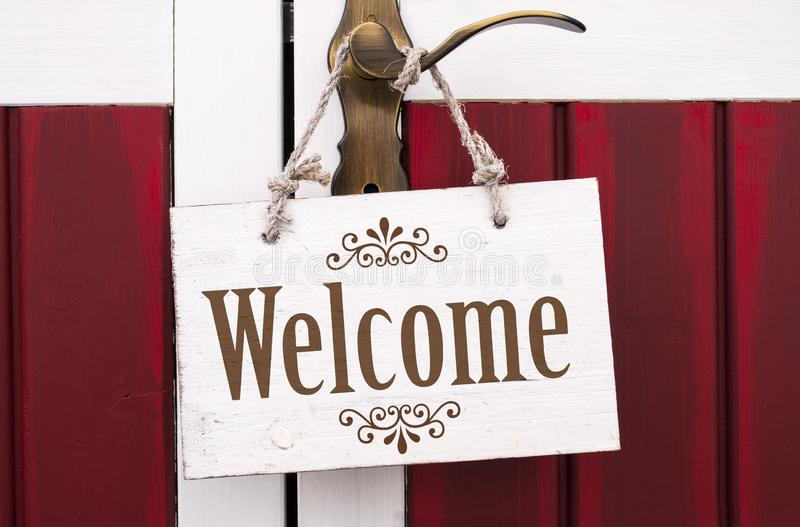 Wooden signboard with message welcome royalty free stock photos