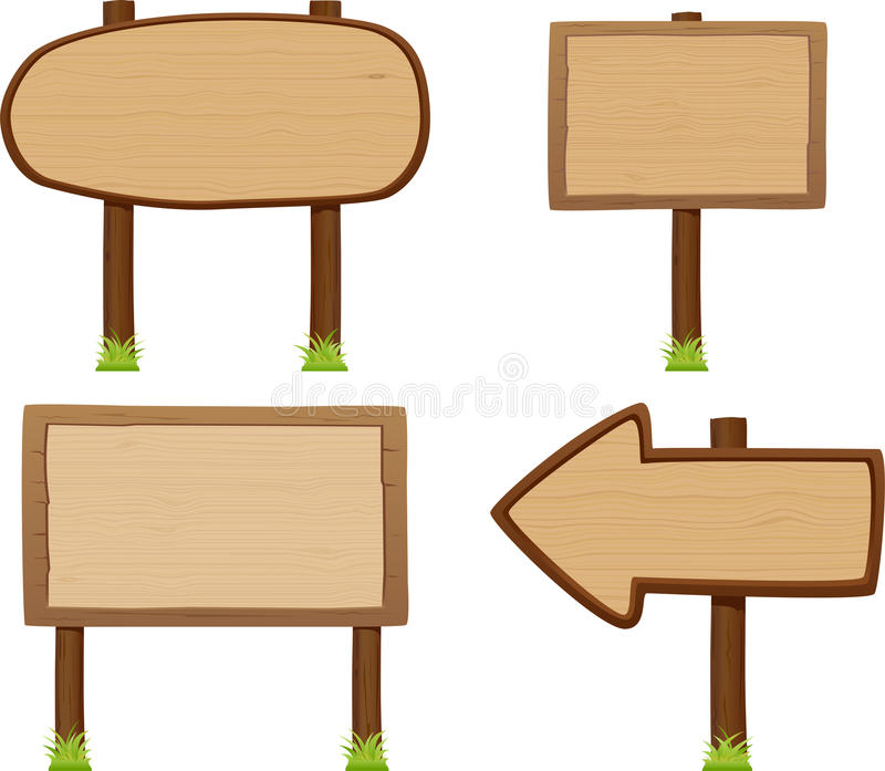 Wooden signboard set. Vector illustration of wooden signboard set stock illustration