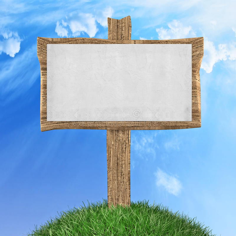 Wooden signboard. Wooden sign in grass park or garden 3d illustration stock illustration