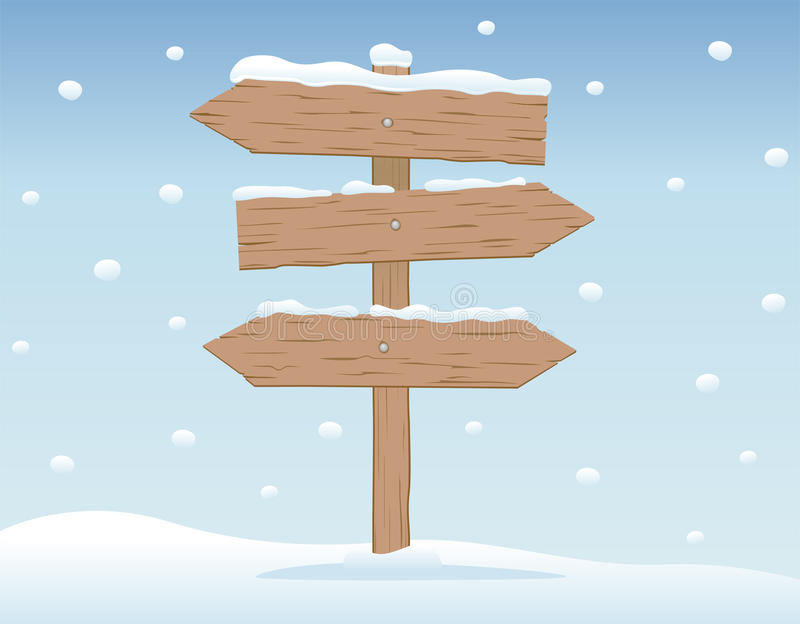 Download Wooden signboard in snow 2 stock vector. Image of snowy - 24071507
