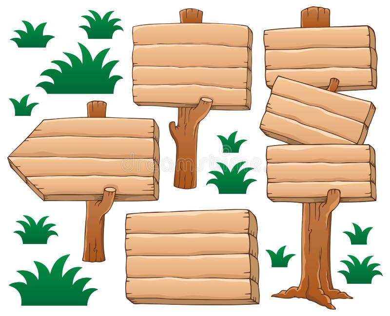 Wooden signboard theme. Vector illustration royalty free illustration