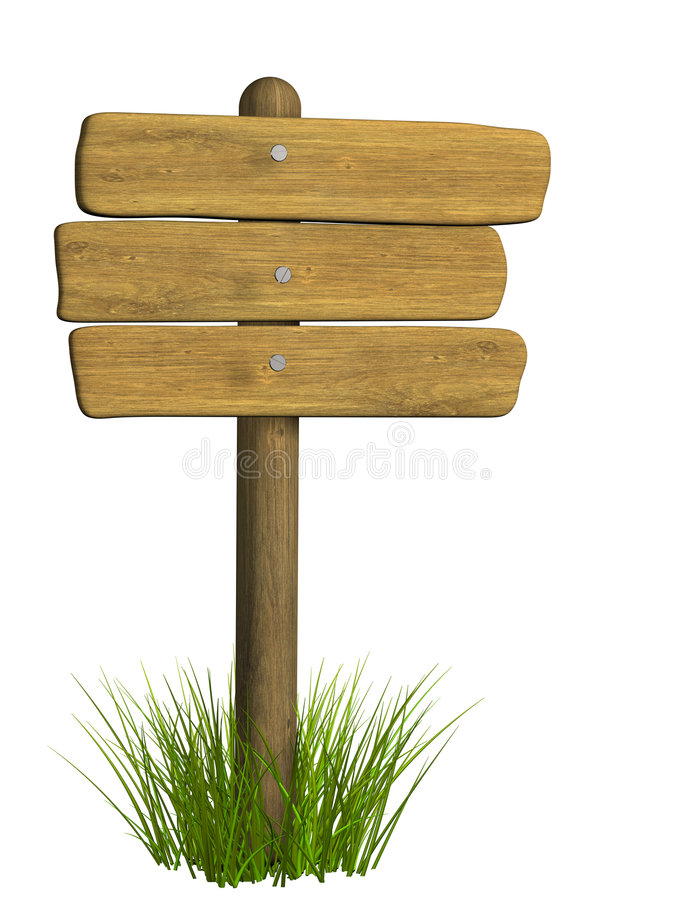 Wooden signboard from three boards stock images