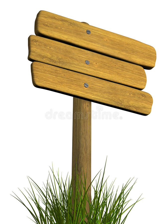 Wooden signboard from three boards. Object over white stock images