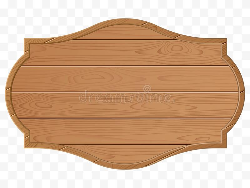 Wooden signboard. Wood texture. Old sign isolated. Vector stock illustration