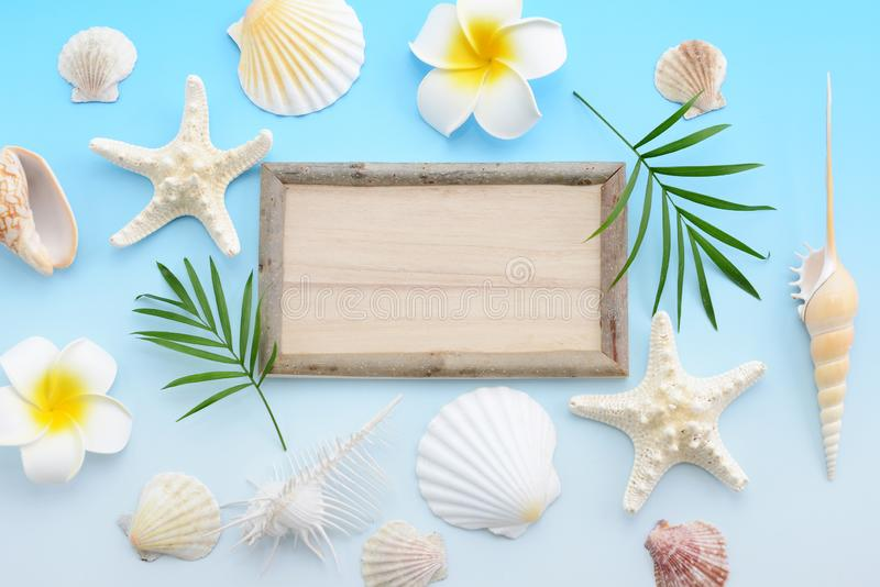 Wooden signboard. With sea shells royalty free stock image