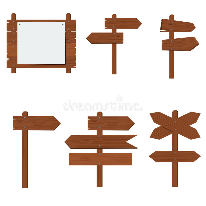 Wooden signboards, wood arrow sign set. Flat color style design vector illustration