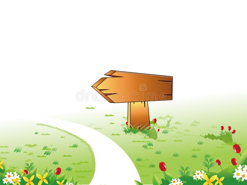 Wooden signpost. And A path through the garden stock illustration