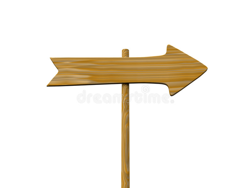 Wooden signpost. Empty isolated wooden signpost. 3d royalty free illustration
