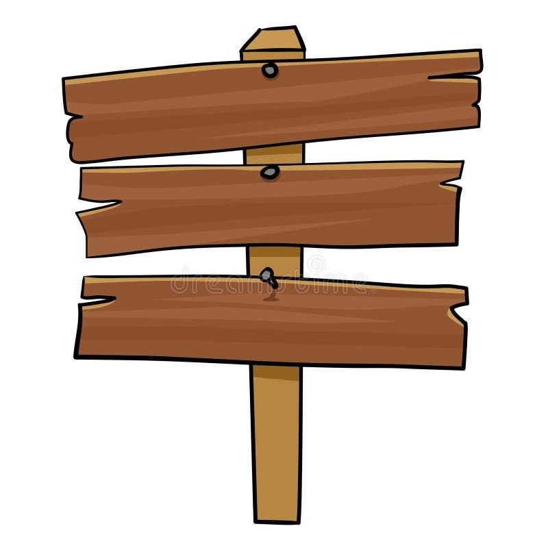 Wooden Signpost. Cartoon illustration of wooden signpost vector illustration