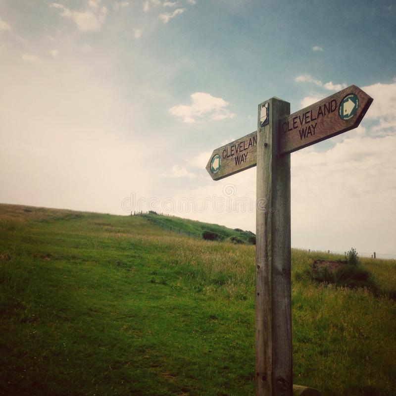 Wooden signpost. On the Cleveland Way walk path Cayton North Yorkshire UK royalty free stock photography
