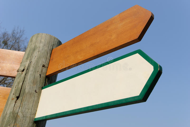 Wooden signpost stock photography