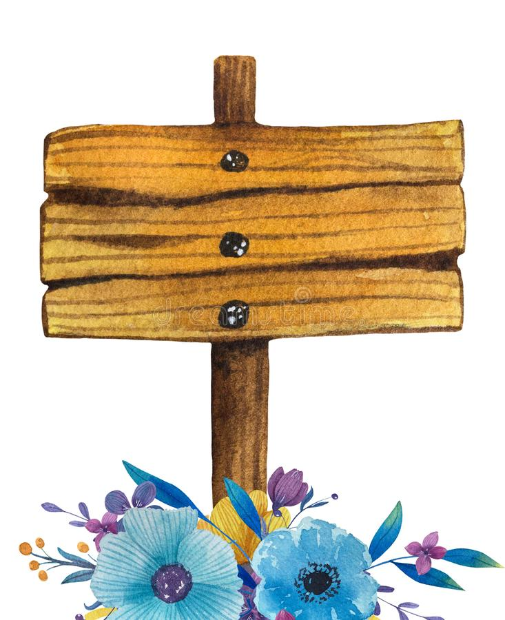 Wooden signpost frame with flower bouquet. Hand drawn illustration vector illustration