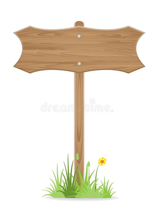 Wooden signpost on grass with flower isolated on white. Vector illustration royalty free illustration