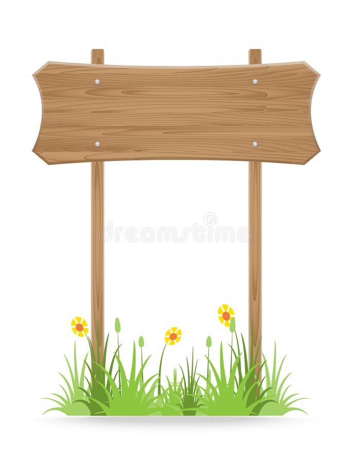 Wooden signpost on grass with flower isolated on white. Vector illustration stock illustration