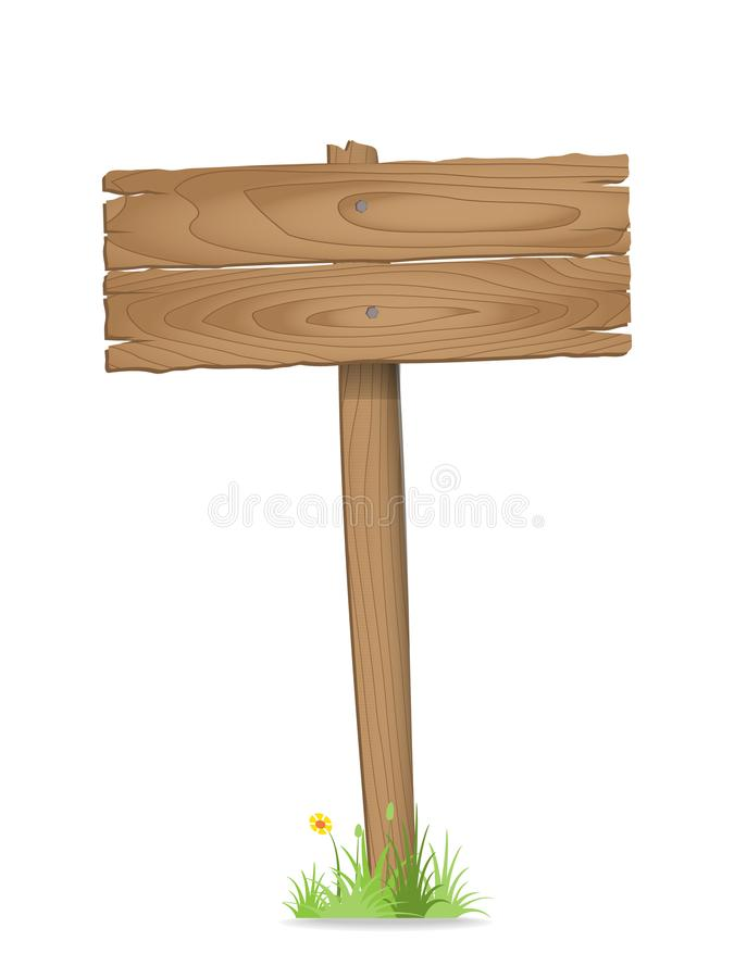Wooden signpost on grass with flower. Vector illustration stock illustration