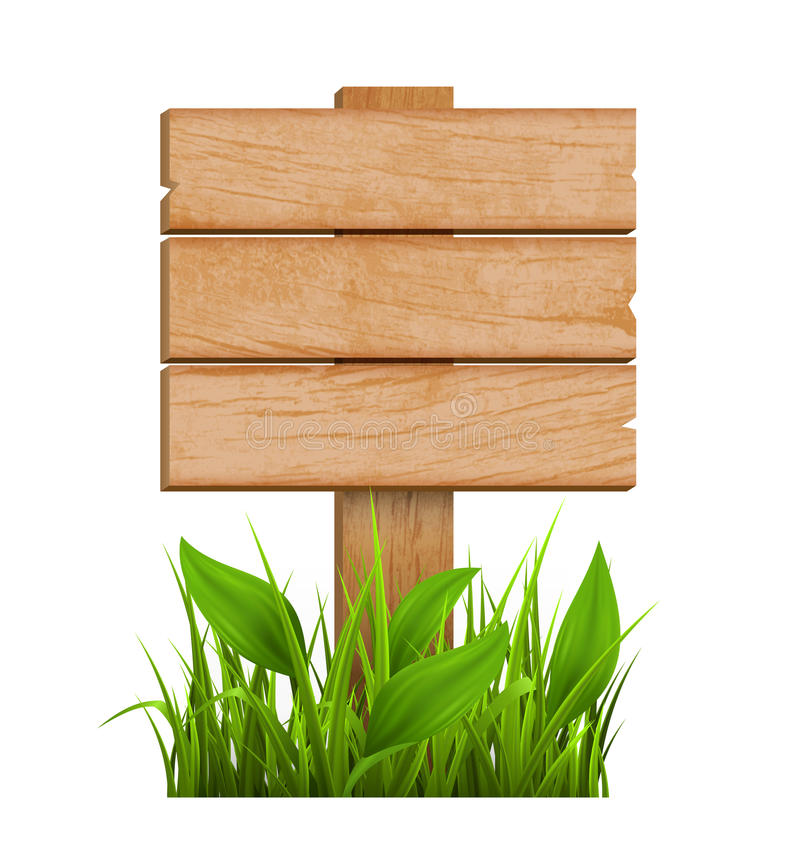 Wooden Signpost with Grass Isolated on White. Background stock illustration
