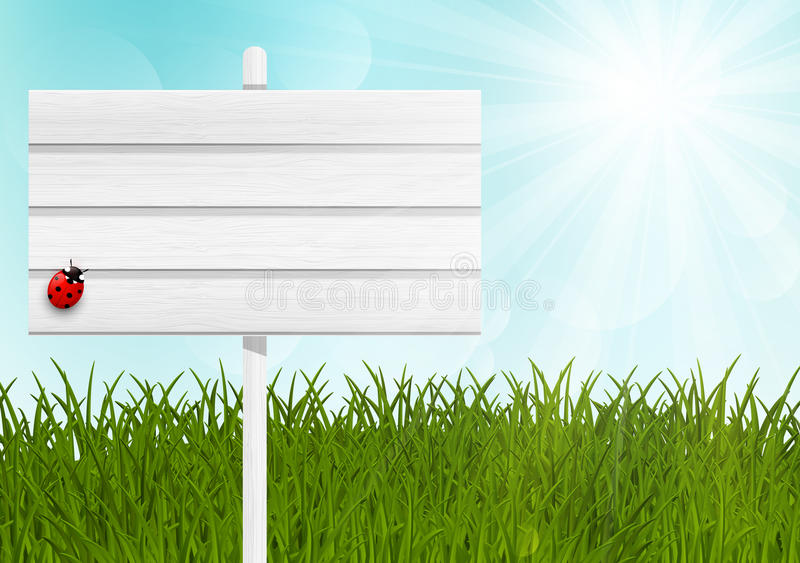 Wooden signpost on green meadow. Wooden signpost on green sunny meadow royalty free illustration