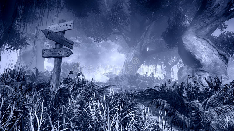 Wooden signpost in a misty night forest stock illustration