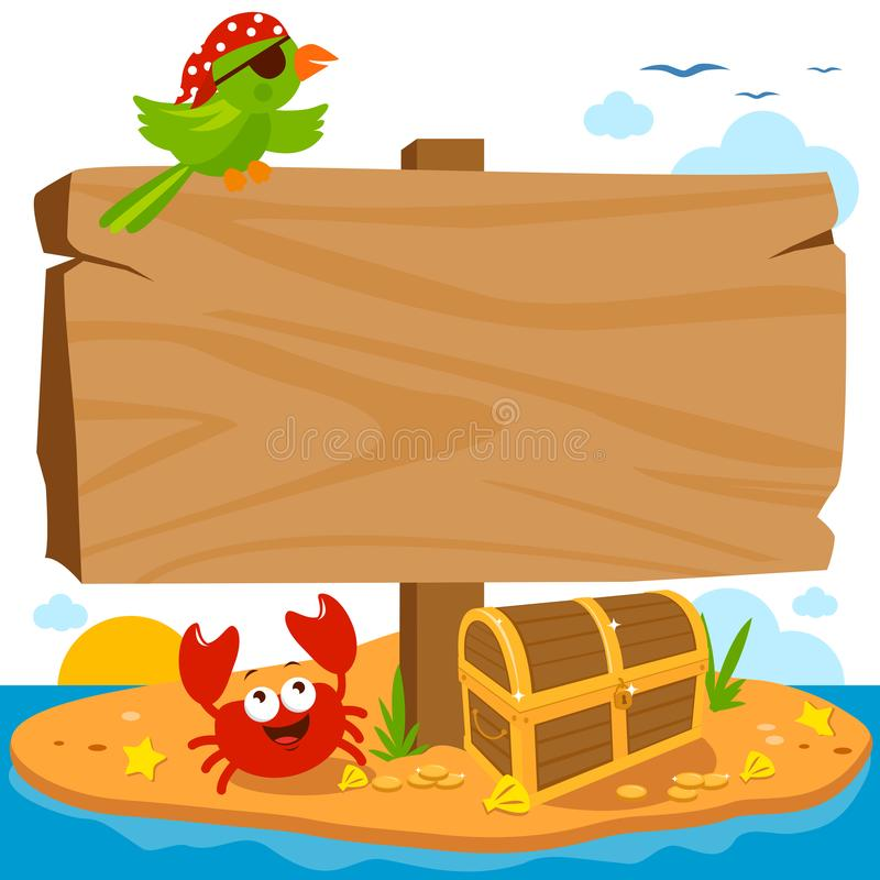 Wooden signpost on pirate island. Wooden signpost on a deserted pirate island landscape with treasure chest, parrot and a crab vector illustration
