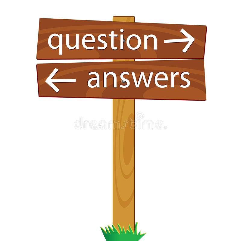 Wooden signpost for questions and answers vector illustration. Wooden signpost for questions and answers royalty free illustration