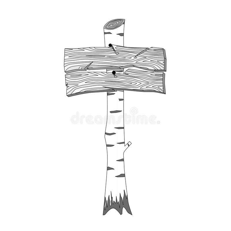 Wooden signposts. Hand drawn wooden sign board stock illustration