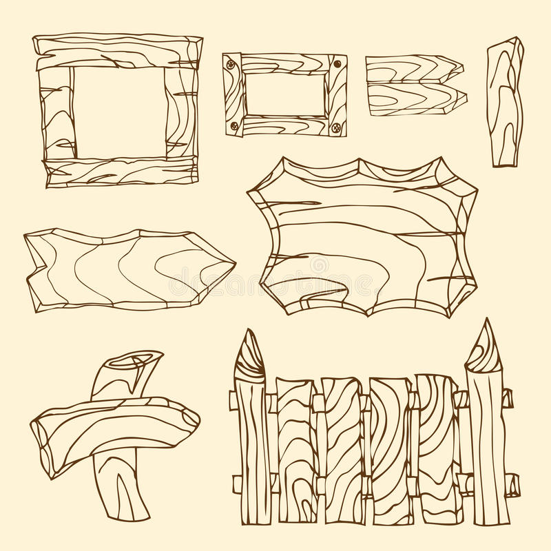 Wooden signposts. Set of wooden signposts. Hand-drawn stock illustration