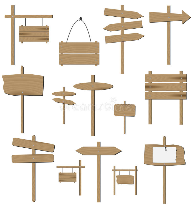 Wooden Signs royalty free illustration